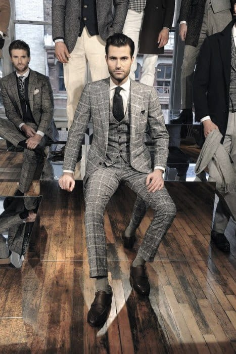 Three Piece Charcoal Grey Suit Brown Shoes Mens Style Ideas