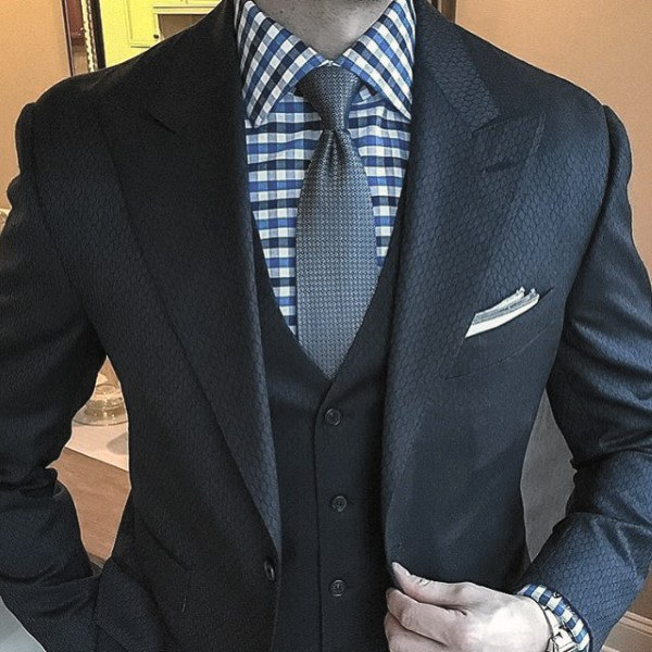 Three Piece Male Navy Blue Suit Style