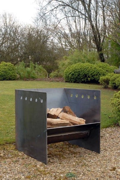 Three Sided Square Steel Fire Pit Ideas