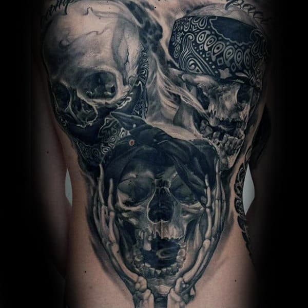 Three Skulls Black Ink Mens Back Tattoos