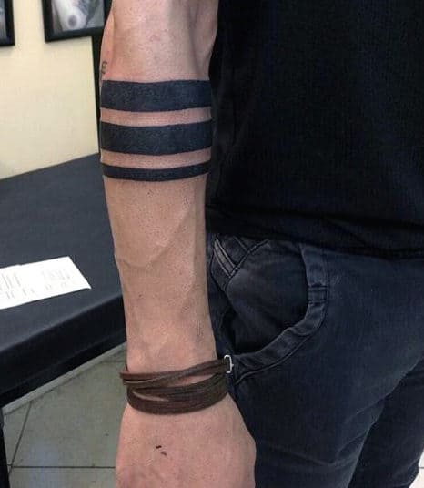 Three Solid Armband Tattoo For Men