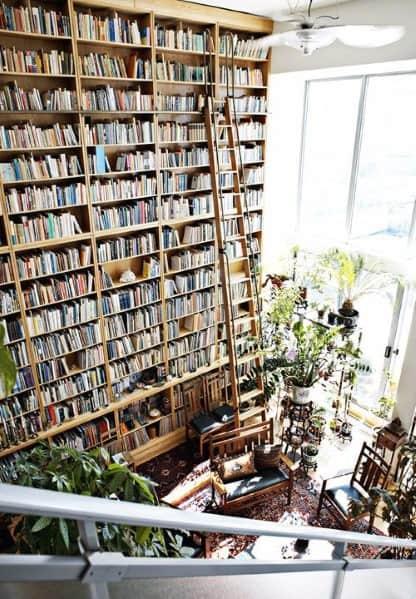 Three Story Ideas For Floor To Ceiling Bookshelves Interior