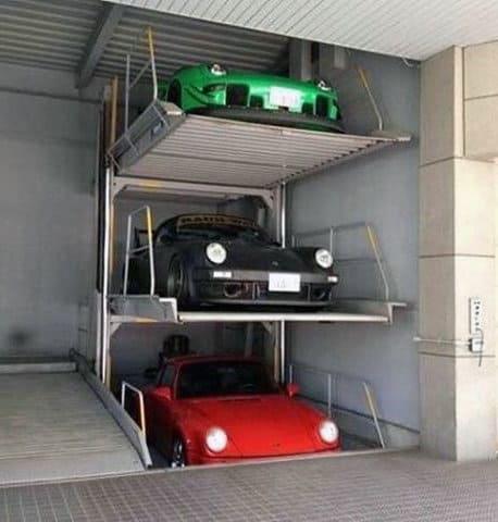 Three Story Lift Mens Porsche Dream Garage