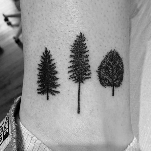 Three Trees Small Ankle Tattoos For Gentlemen