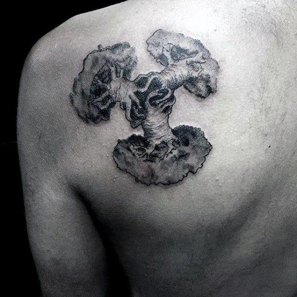 Three Trees Small Mens Shoulder Blade Tattoo