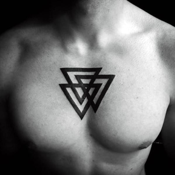 Three Triangles In Black Ink Guys Simple Chest Tattoo