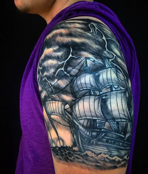 Thunder And Lightning Tattoos For Men With Sailing Ships
