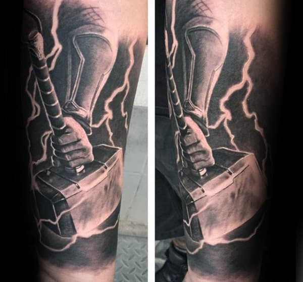 Thunder Mjolnir Mens Realistic Arm Sleeve Tattoos