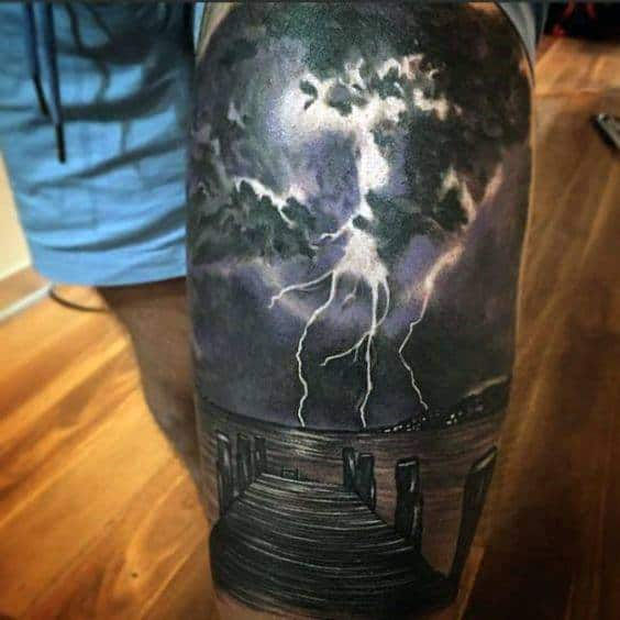 Thunderstorm 3d Thigh Tattoos Male