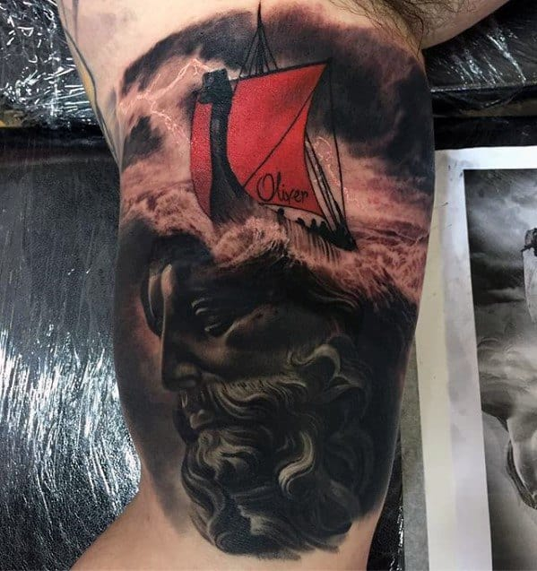 Thunderstorm Statue Inner Arm Bicep Tattoo Ideas For Males