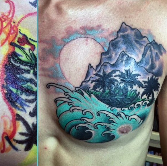 Tide Water Tattoo For Guys On Chest