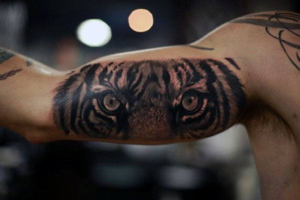 Tiger Eyes Guys Inner Arm Bicep Cool Tattoos