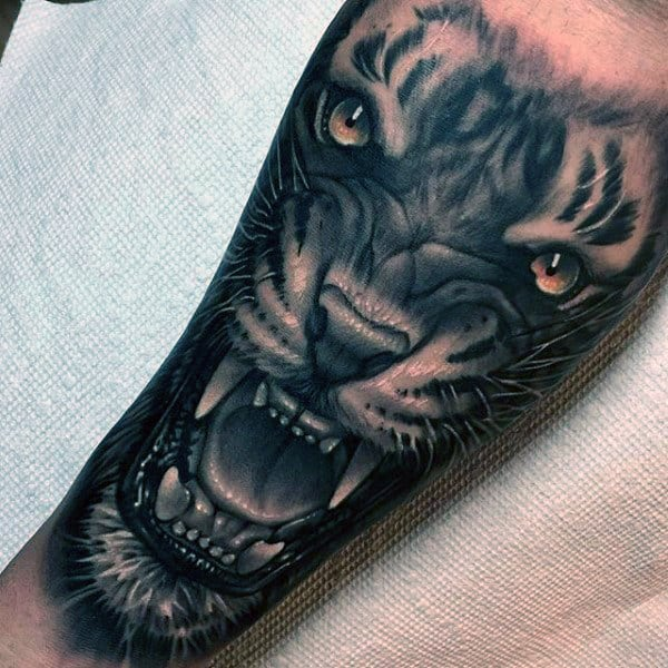 Tiger Growling Awesome Mens Forearm Tattoo Ideas