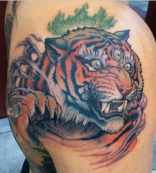 Tiger Man Tattoo On Man