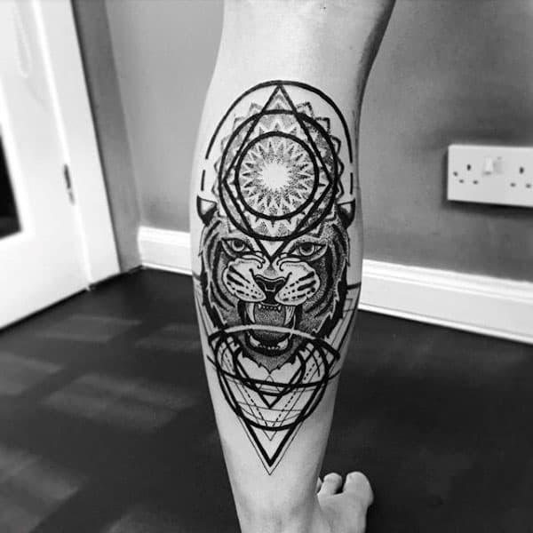 Tiger Pointillism Geometrical Mens Back Of Leg Tattoo
