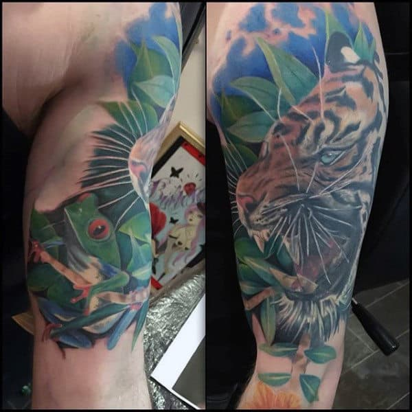 Tiger Roaring With Frog Mens Realistic Arm Tattoos