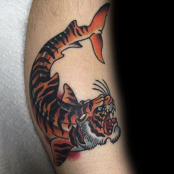 Tiger Shark Male Tattoo Designs