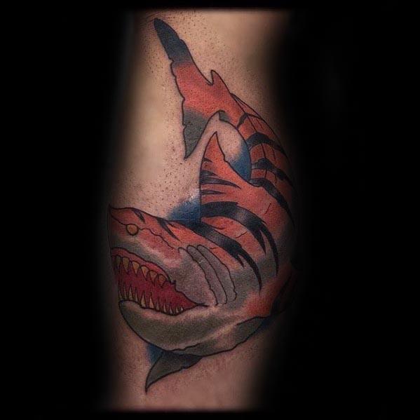 Tiger Shark Mens Tattoo Ideas