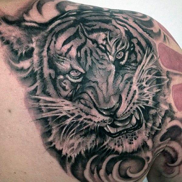 Tiger Tribal Tattoo For Men On Shoulder Blade