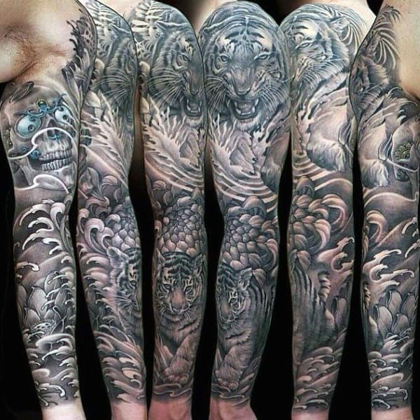 Tiger Unique Mens Shaded Sleeve Tattoo Designs