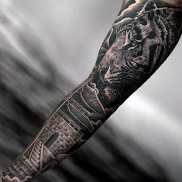 Tiger With Building Mens Full Sleeve Tattoo