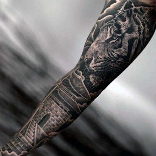 Tiger With Building Nice Mens Full Arm Sleeve Tattoo