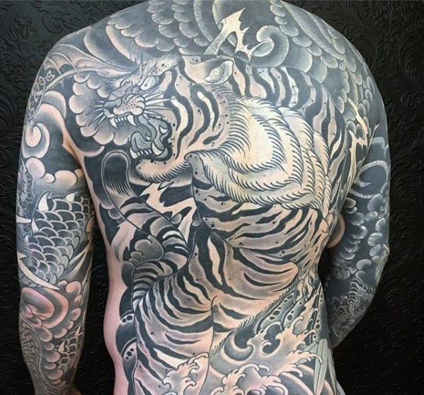 Tiger With Clouds Male Japanese Full Back Tattoos