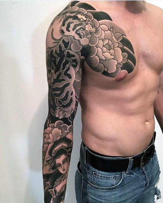 Tiger With Flower Japanese Male Chest And Sleeve Tattoos