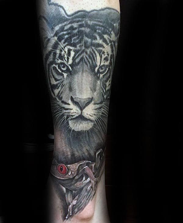 Tiger With Frog Black And Grey Shaded Mens Forearm Sleeve Tattoos