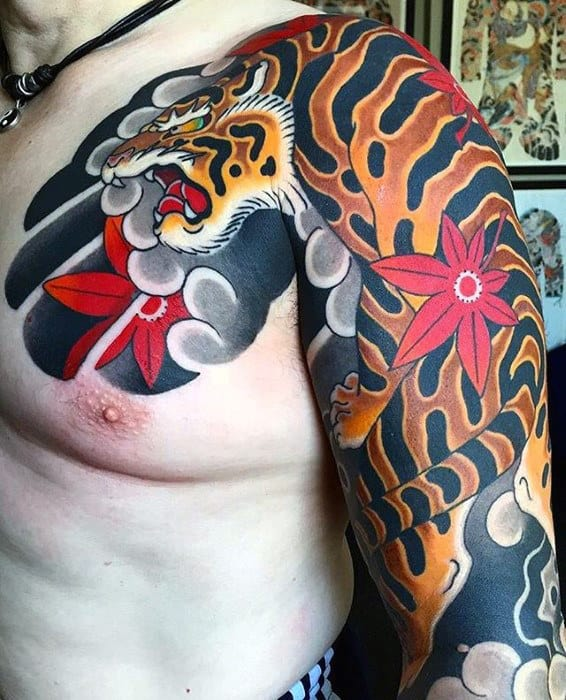 Tiger With Japanese Maple Leaf Guys Chest And Arm Tattoo