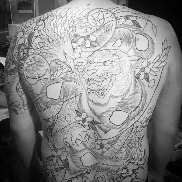 Tiger With Phoenix Bird Mens Full Back Japanese Tattoos