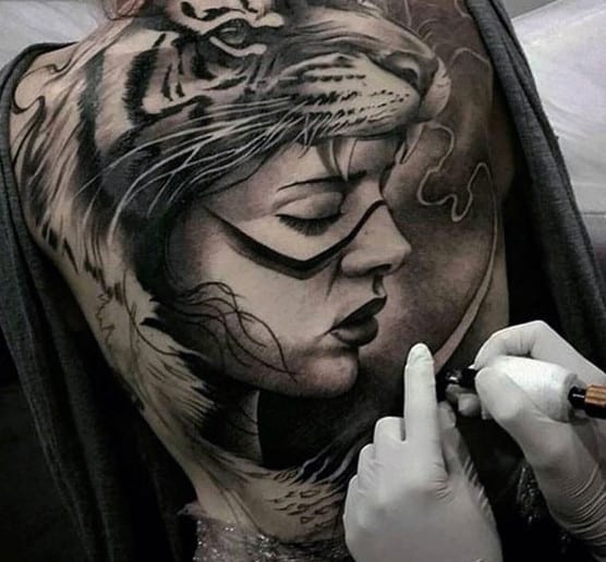 Woman With Tigers Tattoo Men