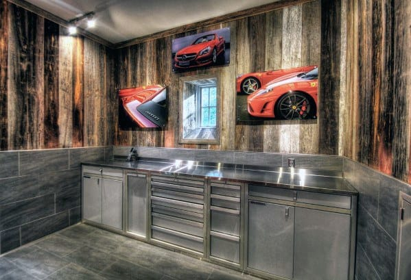 Tile And Wood Paneling Garage Walls With Stainless Steel Cabinets