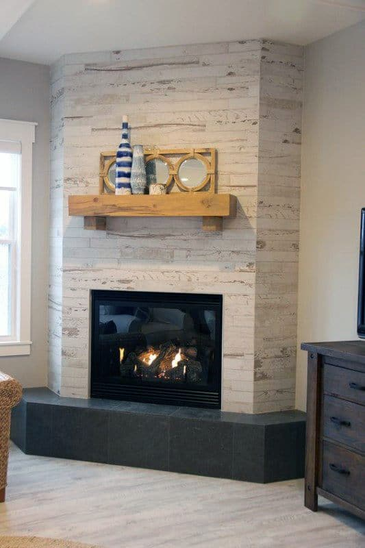 Tile Corner Fireplace Design