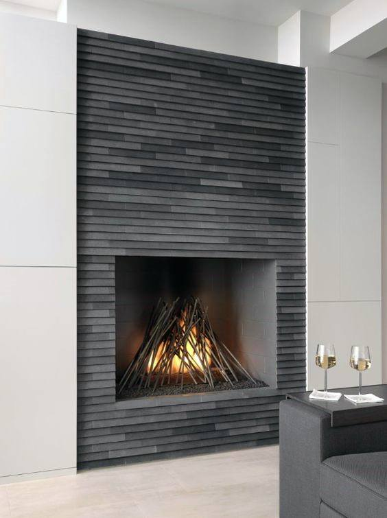 Tile Grey Modern Fireplace Designs