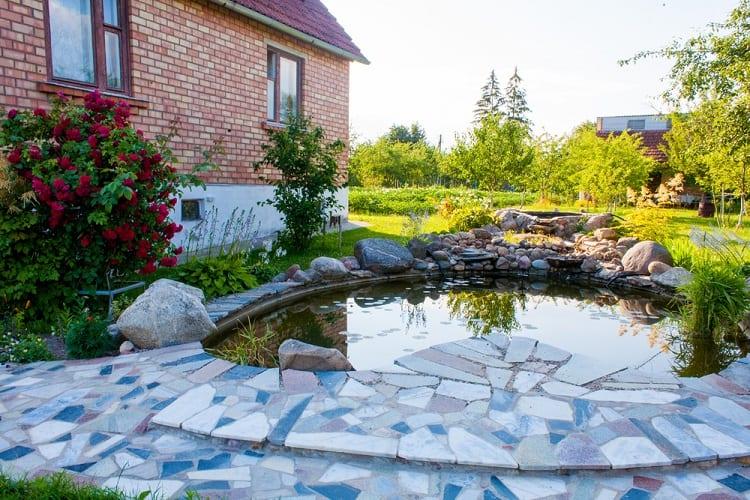 Tiled Backyard Small Shallow Pond