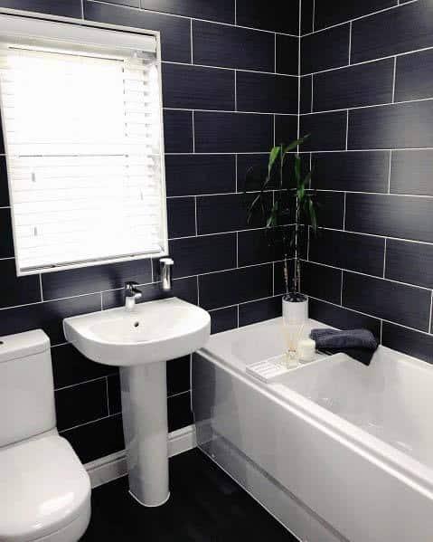 Tiled Walls Black Bathroom Ideas
