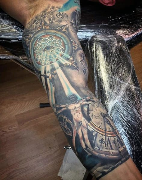 Sleeve Time Clock Tattoo Designs For Men