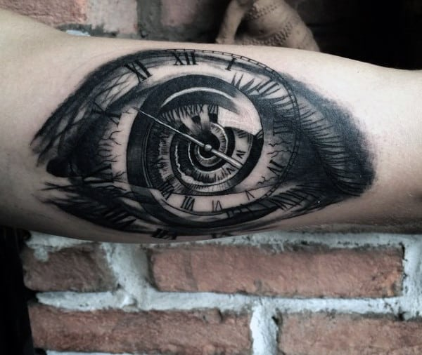 Eye Time Clock Tattoos For Men