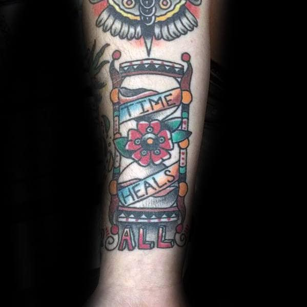 Time Heals Banner Traditional Hourglass Mens Forearm Tattoo