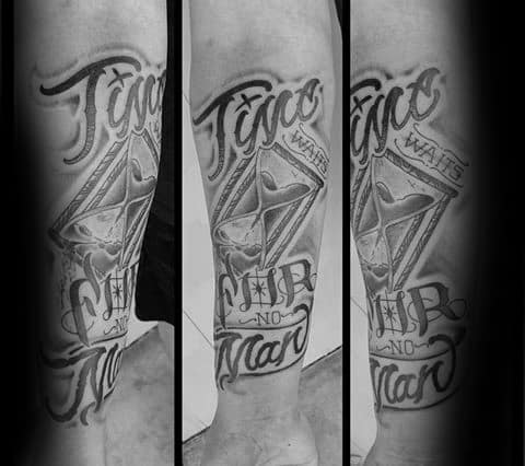 Time Waits For No Man Tattoo Ideas For Males
