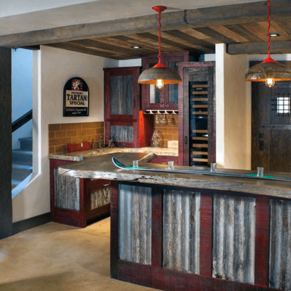 Tin Rustic Home Basement Bar Ideas