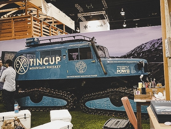 Tincup Mountain Whiskey Snow Cat Display At Outdoor Retailer 2019 Snow Show
