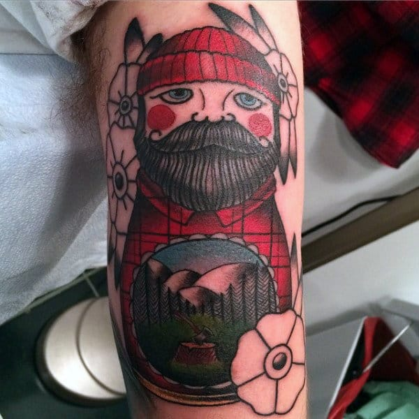Tiny Bearded Red Capped Man Tattoo Guys Triceps
