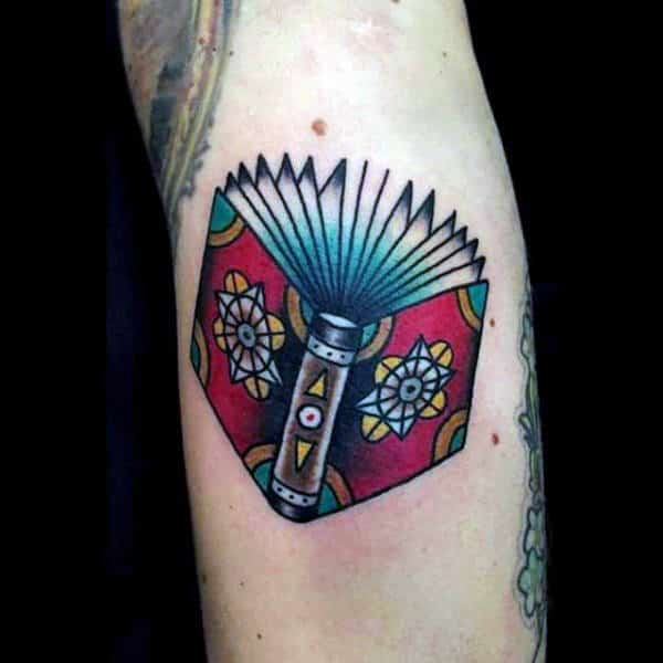 Tiny Colored Book Tattoo Male Forearms