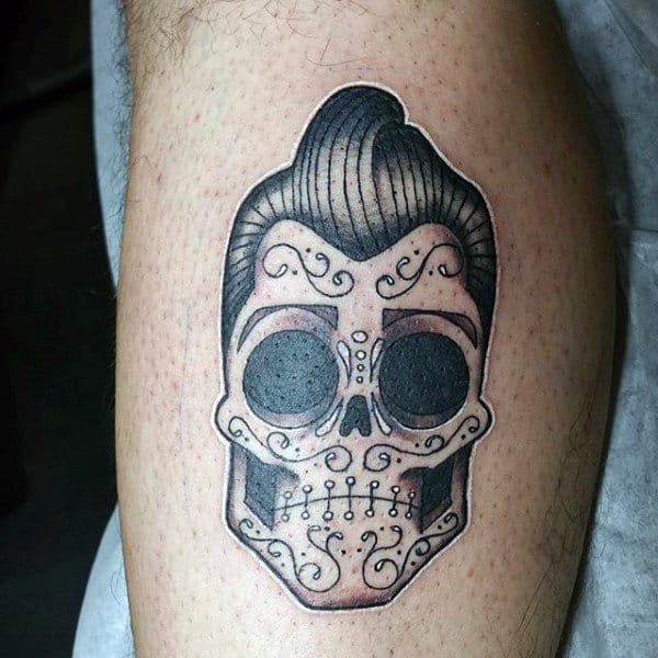 Tiny Dark Day Of The Dead Tattoo Male Forearms