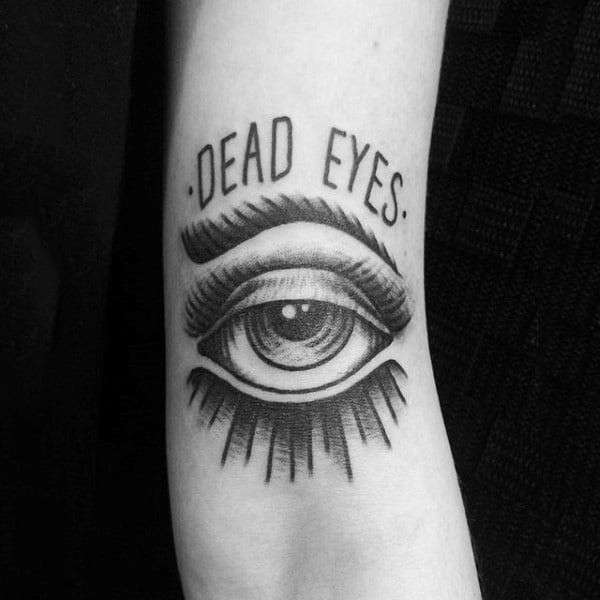 Tiny Dark Dead Eye Tattoo Mens Forearm