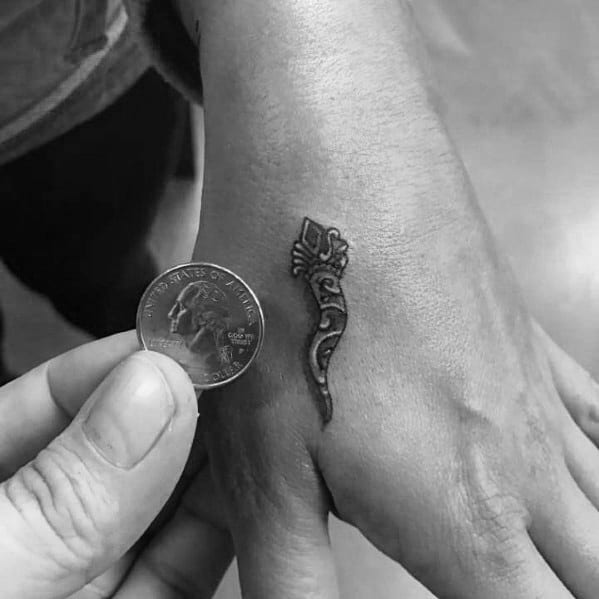 Tiny Detailed Hand Italian Horn Tattoos For Guys