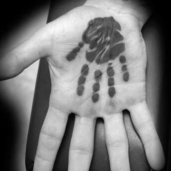Tiny Handprint Tattoo Inside Mans Palm