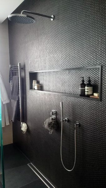 Tiny Hexagon Bathroom Tile Shower Ideas